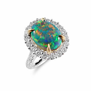 Incredible 2.73ct Solid Black Opal and Diamond Ring Crafted in Platinum