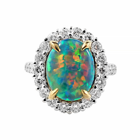 Incredible 2.73ct Solid Black Opal and Diamond Ring Crafted in Platinum | Shop Online | Ring - Rosendorff