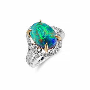 Intense Colourful Solid Black Opal & Diamond Ring set in 18ct Yellow and White Gold