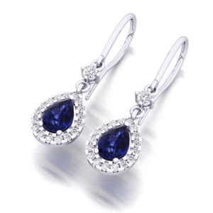 Pear Sapphire & Diamond Drop Earrings