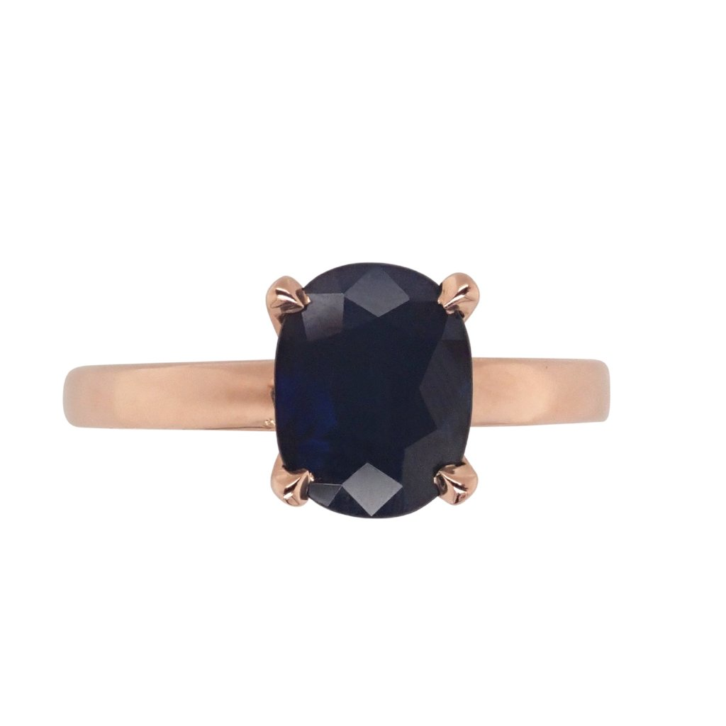 Sapphire Solitaire Ring Rose Gold