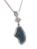 One of a Kind Boulder Opal & Diamond Pendant