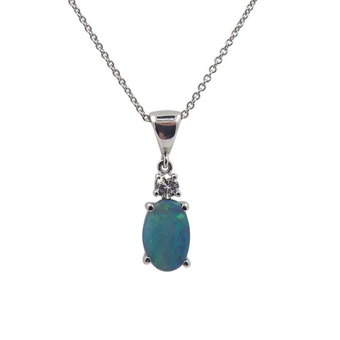 Solid Black Opal & Diamond Pendant