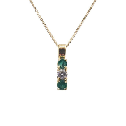 Gorgeous Green Emeralds & Diamond Pendant