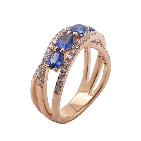 Oval Royal Blue Sapphire & Diamond Ring