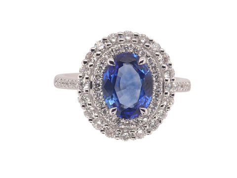 Royal Blue Sapphire & Diamond Halo Ring