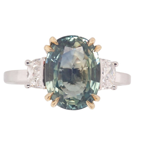 Unique Green Grey Sapphire & Diamond Ring