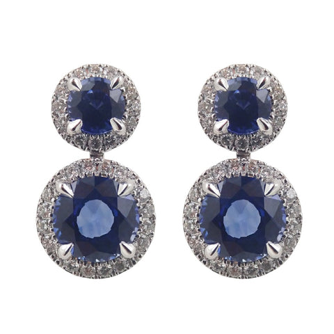 Diamond & Sapphire Earrings 18ct White gold