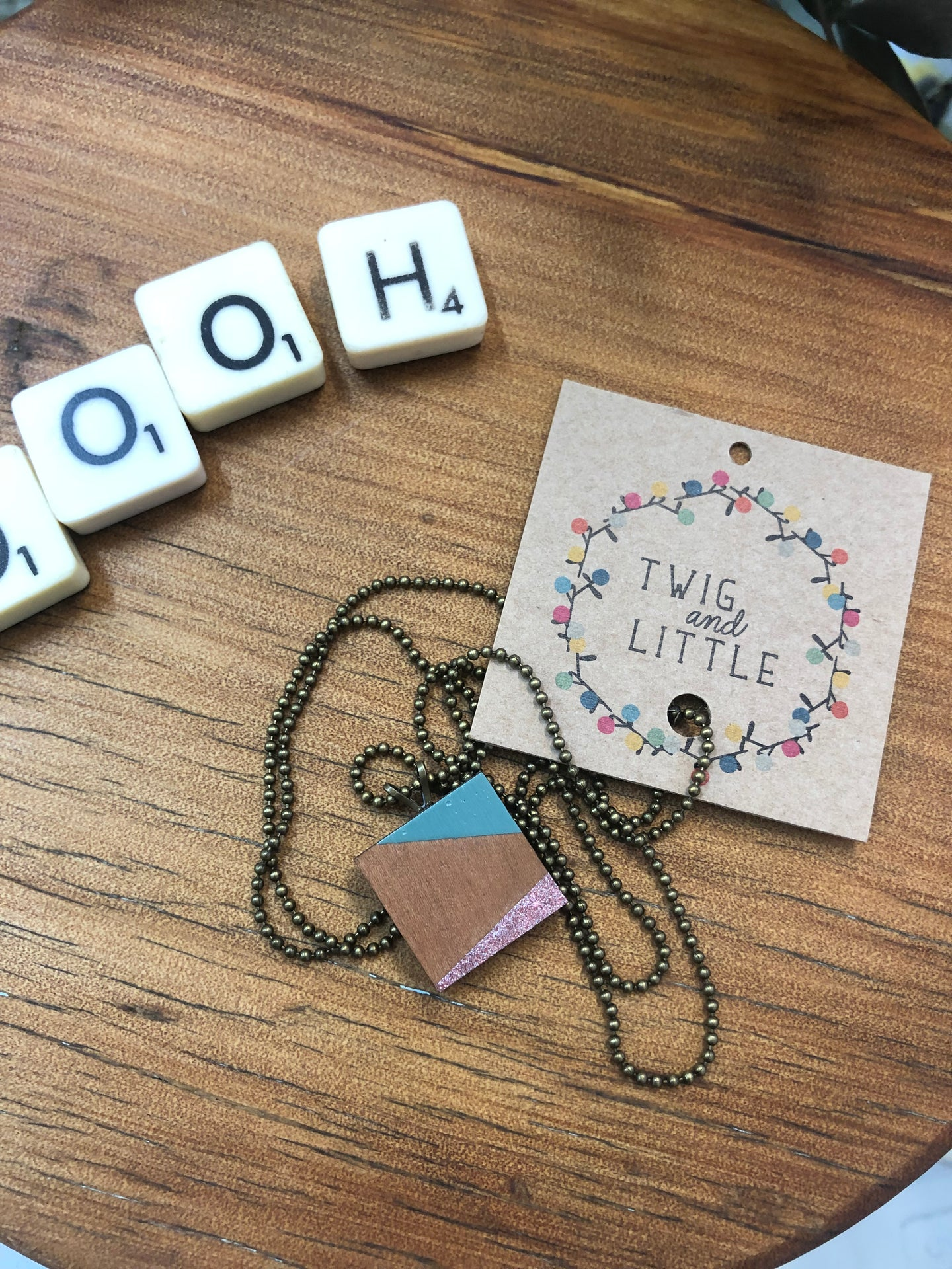 Mini Wood Pendant Necklace