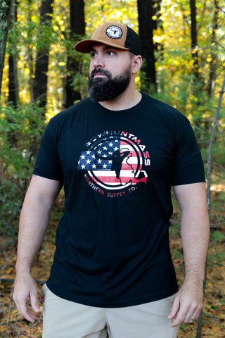 BowHuntMass US Flag Logo Print T-shirt
