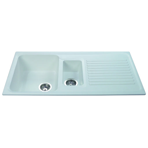 CDA AS2WH Composite one and a half bowl sink (White)