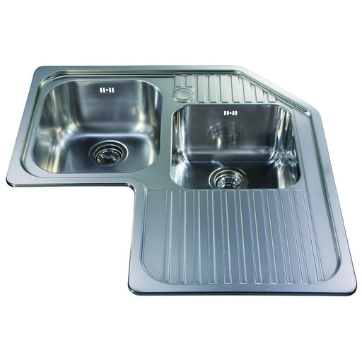 CDA CCP3SS Stainless steel corner double bowl sink