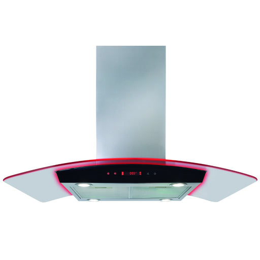 CDA EKPK90SS Curved glass island extractor with edge lighting