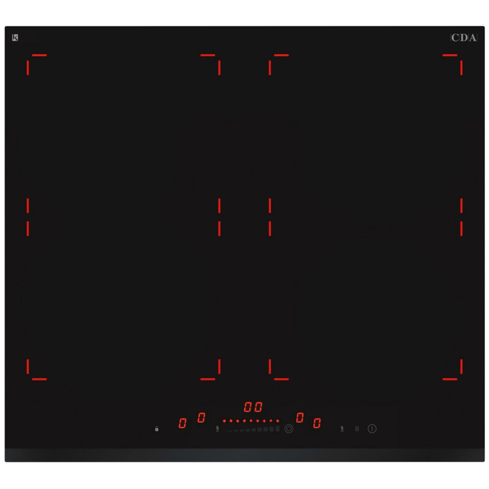 CDA HN6850FR Designer four zone illuminated induction hob