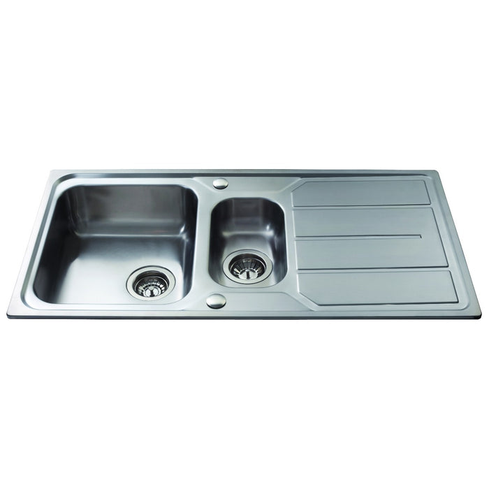 CDA KA32SS Stainless steel one and a half bowl sink