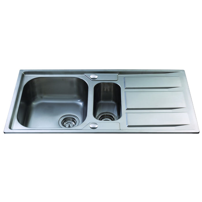 CDA KA82SS Stainless steel one and a half bowl sink