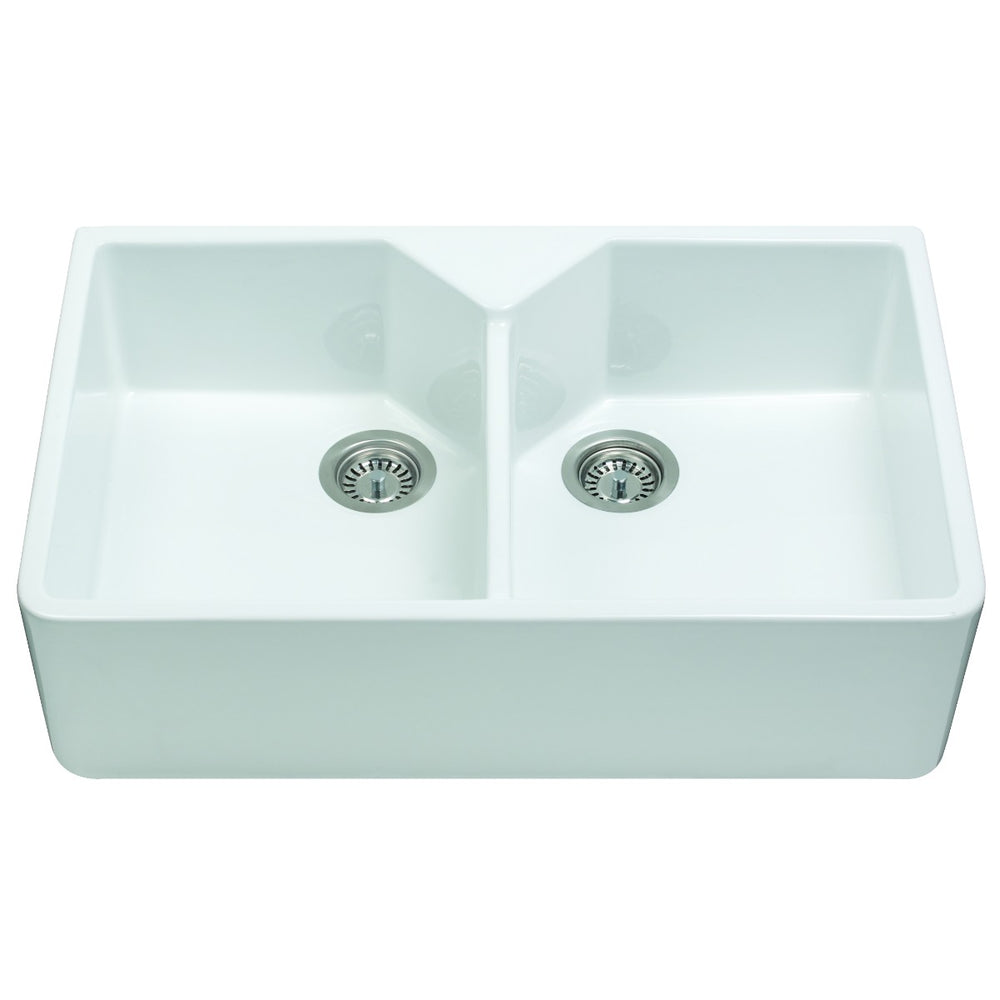 CDA KC12WH Ceramic Belfast style double bowl sink