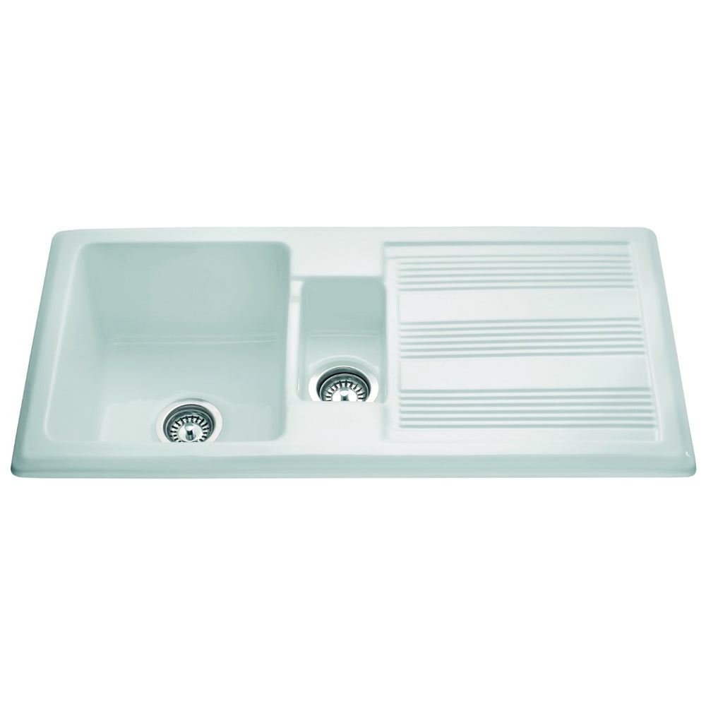 CDA KC24WH Ceramic one and a half bowl sink