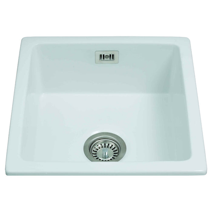 CDA KC42WH Ceramic undermount single bowl sink