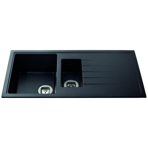 CDA KG44BL Composite one and a half bowl sink (Black)