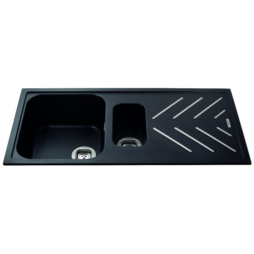 CDA KG82BL Composite 1.5 bowl sink with steel drainer bars (Black)