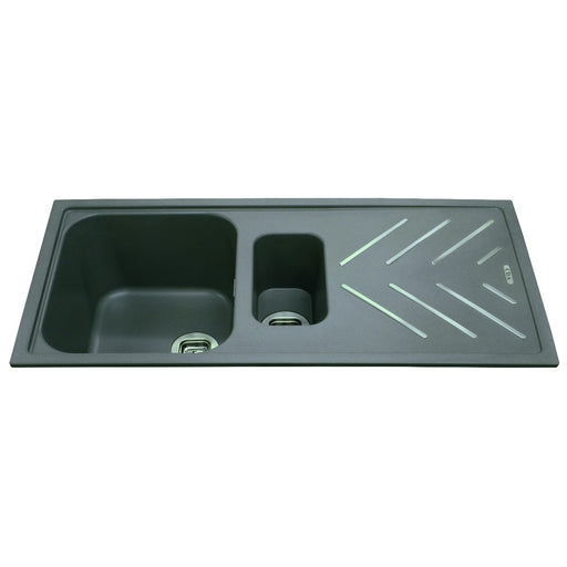 CDA KG82GR Composite 1.5 bowl sink with steel drainer bars (Grey)