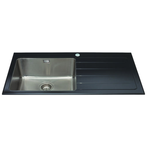 CDA KVL01BL Glass single bowl sink with right hand drainer