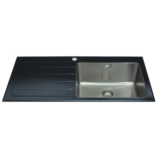 CDA KVL01LBL Glass single bowl sink with left hand drainer