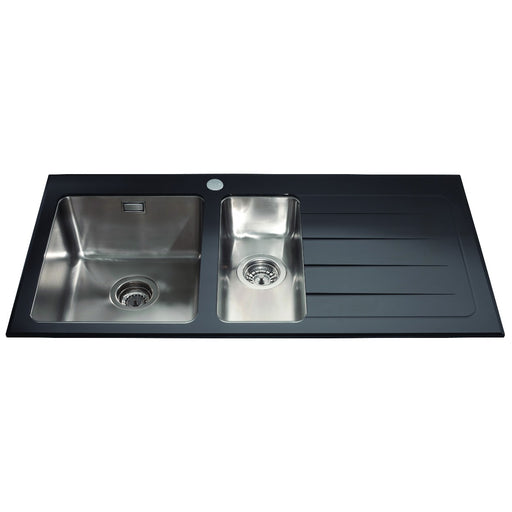CDA KVL02BL Glass one and a half bowl sink right hand drainer