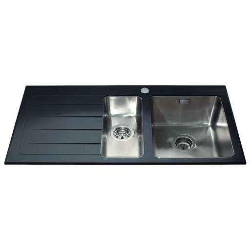CDA KVL02LBL Glass one and a half bowl sink left hand drainer