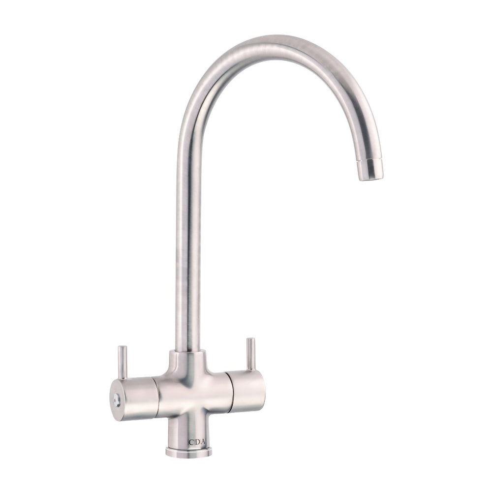 CDA TC55NI Monobloc tap with swan neck spout (Nickel)