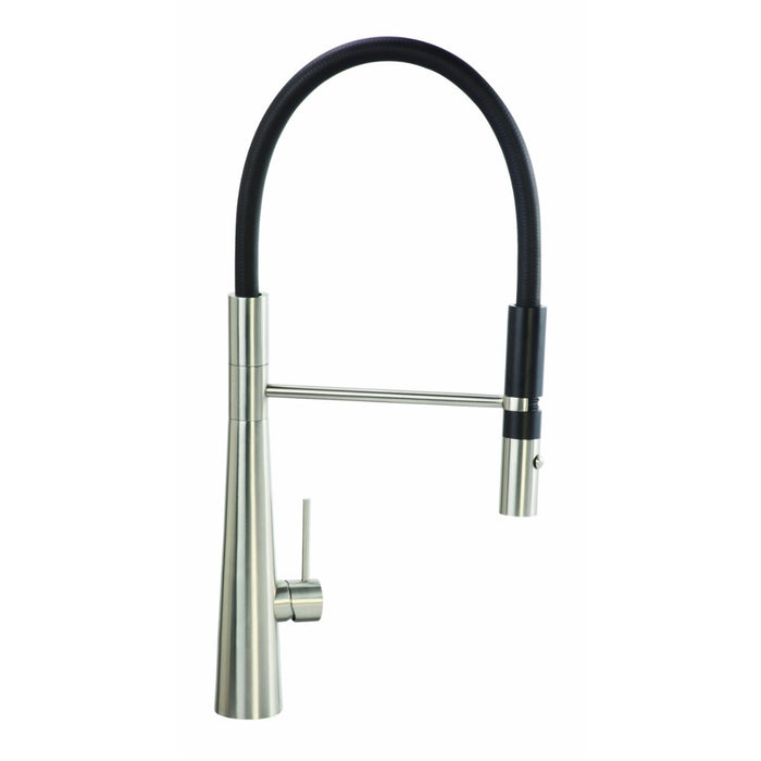 CDA TV11SS Single lever tap with black pull-out spray