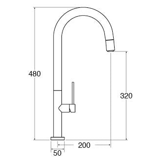 CDA TV12BR Slimline single lever tap with pull-out spray (Brushed steel)