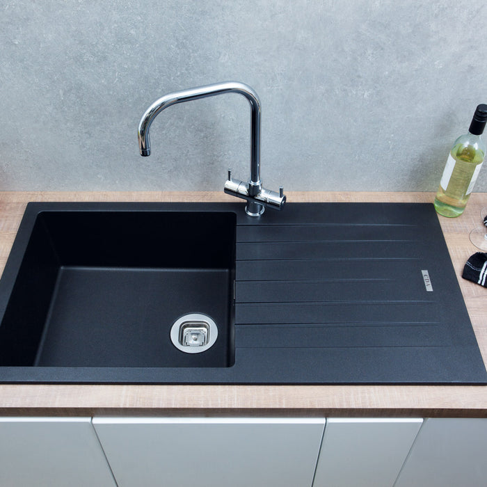 CDA KG73BL Composite single bowl sink (Black)