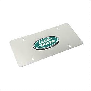 Land Rover Logo License Plate Polished Silver Background