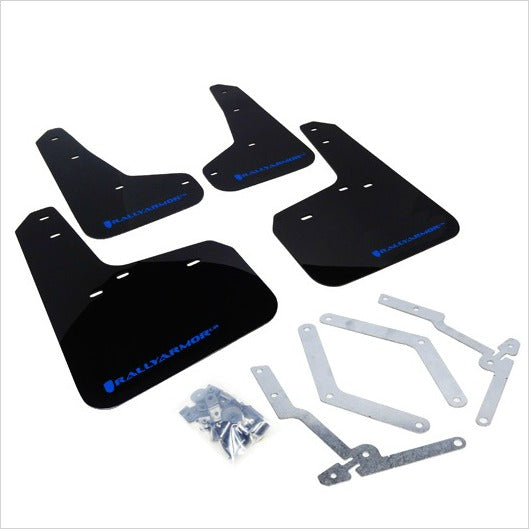 Rally Armor UR Mud Flaps Black with Blue Logo Focus (2013+)