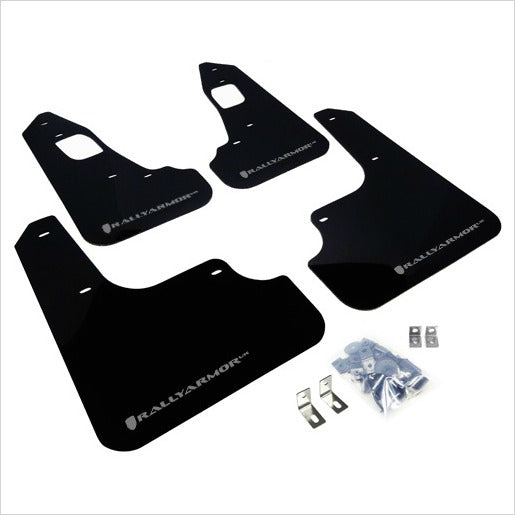 Rally Armor UR Mud Flaps Black with Silver Logo EVO X