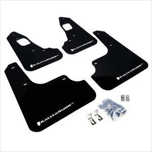 Rally Armor UR Mud Flaps Black with White Logo EVO X