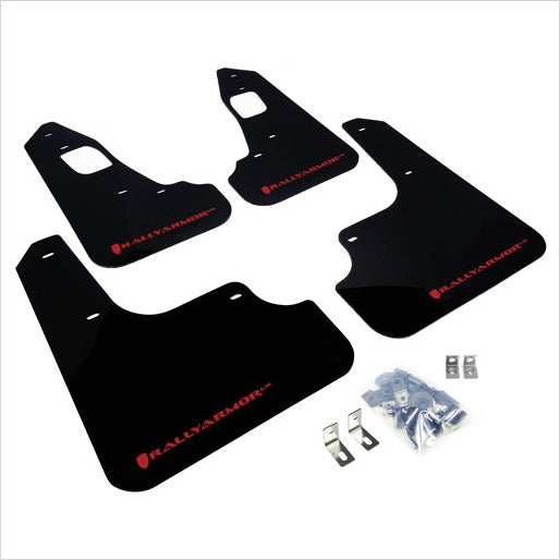 Rally Armor UR Mud Flaps Black with Red Logo EVO X
