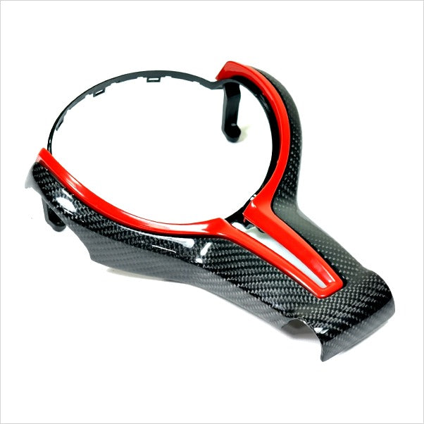 Autotecknic Carbon Fiber Outer & Painted Inner Steering Wheel Trim F-Chassis BMW M3 M4 M5 M6
