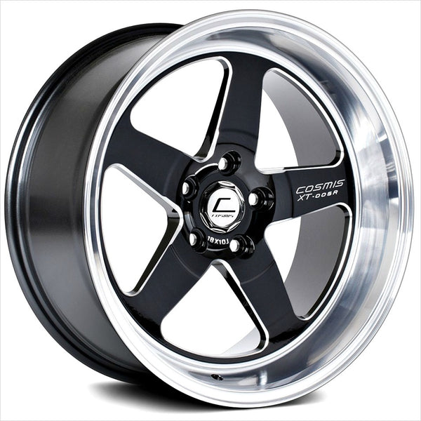 Cosmis XT-005R Black Machined Lip Wheel 18x9 5x100 +25mm