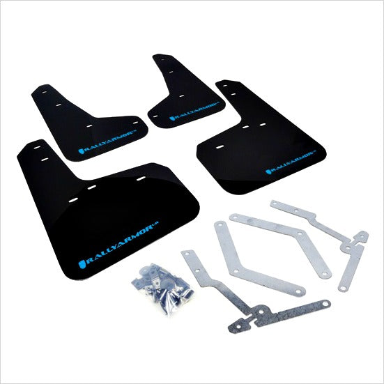 Rally Armor UR Mud Flaps Black with Light Blue Logo Focus (2013+)