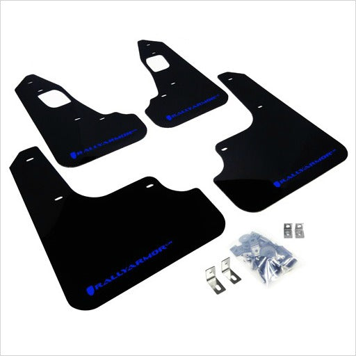 Rally Armor UR Mud Flaps Black with Blue Logo EVO X