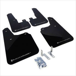 Rally Armor UR Mud Flaps Black with Silver Logo Outback (2010-2014)