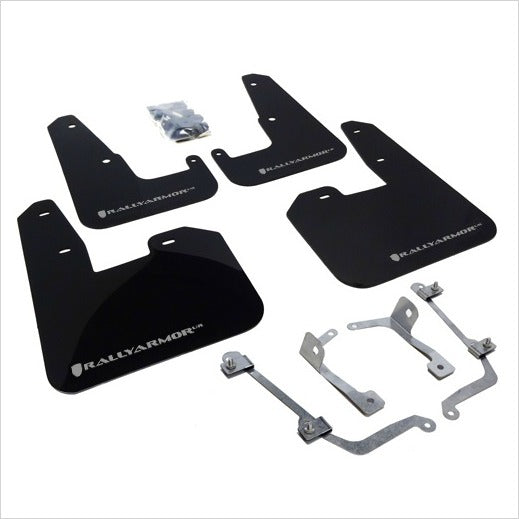 Rally Armor UR Mud Flaps Black with Silver Logo STI (2008-2014) WRX (2011-2014) Hatchback