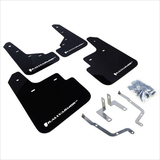Rally Armor UR Mud Flaps Black with White Logo Mazda3 (2014+)