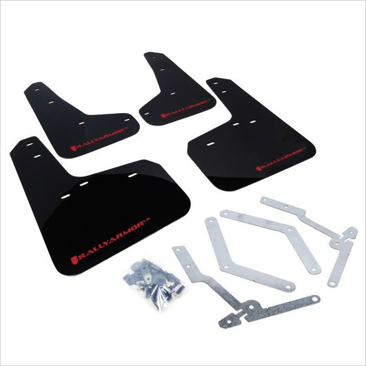 Rally Armor UR Mud Flaps Black with Red Logo Focus (2013+)