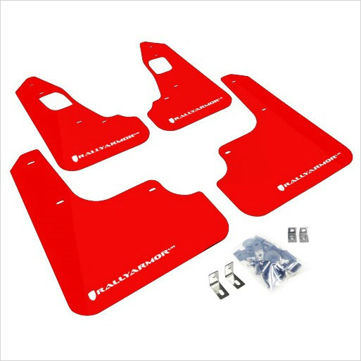 Rally Armor UR Mud Flaps Red with White Logo EVO X