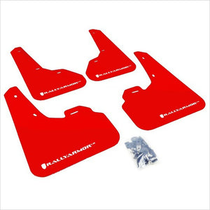 Rally Armor UR Mud Flaps Red with White Logo Mazda3 Speed3 (2010-2013)