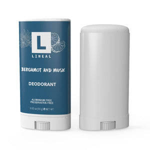 Front view of a 15 gram Travel Pack of Lineal Deodorant in Bergamot & Musk Fragrance.